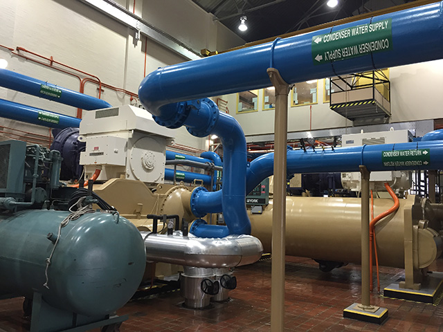 Interior of a district energy plant's chilled water pumps.