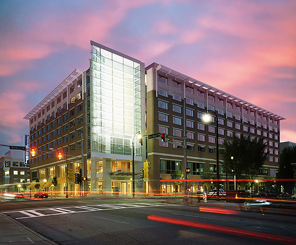 Tech Square Building during sunset with time-lapse lighting surrounding.